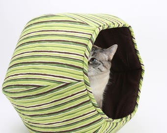 Hexagonal Pet Bed made in Green Stripes cotton fabric  - The Cat Ball is a modern cat bed with two openings
