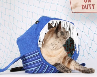 Cat bed that looks like a whale, blue whale, novelty cat bed, Blue Whale cat bed, pet bed, shark week, The Cat Ball® kitty bed