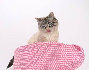 Pink Polka Dot Cat Bed - Modern Cat Furniture - the Cat Canoe - Cotton fabric cat bed - Geometric cat bed