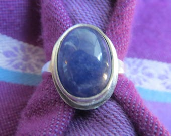 Bright Blue Sapphire in Sterling Silver Ring, Size 4 & a Half
