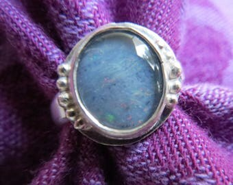 Blue Gray Opal in Granulated Argentium Ring Size 7