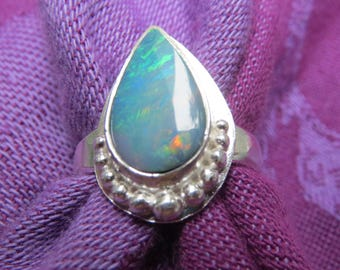 Multi Color Opal Teardrop in Granulated Argentium Ring Size 7