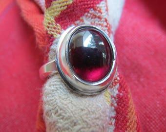 Genuine Garnet in Classic Argentium Silver Ring Size 4