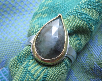 Rose Cut Emerald Teardrop with 22K Gold Bezel in Granulated Silver Ring Size 7