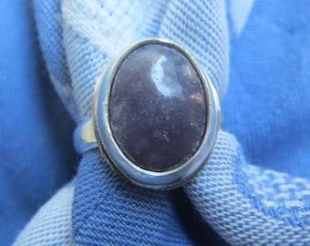 Lavender Purple Lepidolite in Argentium Sterling Ring Size 8