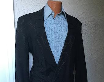 80's Vintage Men's Black Brocade Goth Romantic Dinner Jacket 44