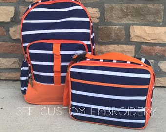 Stripe Backpack and Lunchbox with FREE Monogramming, Back to School, Boys Backpack and Lunchbox Set