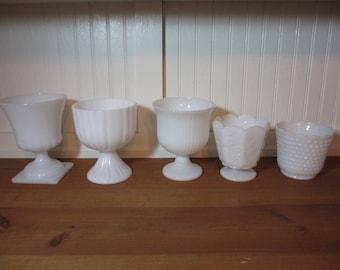 5 Assorted Large White Milk Glass Vases, Milkglass,  Home Decor, Wedding LOT 60