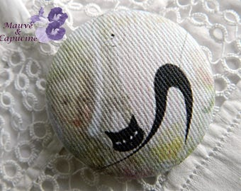 Fabric button,  amazing cat,   1.25 in / 32 mm