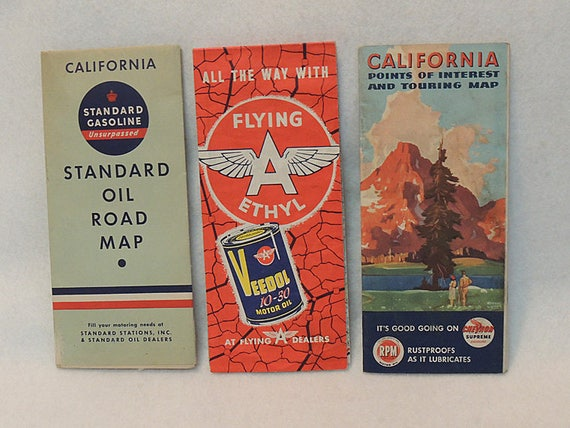 3 Vintage California Road Map.. Standard 1937.. Chevron 1947.. Flying A 1956