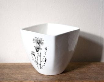 White Porcelain Mug with Camomile, Ceramic Cup, Handmade Mug with Botanical Drawing