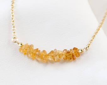 Natural Citrine Bar Necklace, November Birthstone Necklace, Raw Gemstone Necklace, Birthstone Layering Necklace, Birthday Gift for Her
