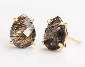 Black Rutile Quartz Stud Earrings - Rutilated Quartz Post Earrings - Gold Stud Gemstone Earrings - Tear drop Stud - Prong Set studs