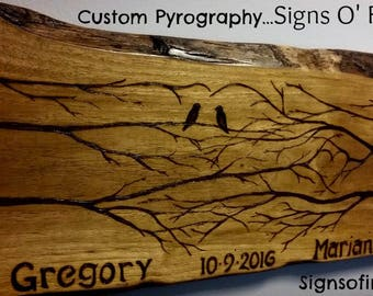 Custom Pyrography Wedding present with names and dates of lucky couple on any size wood made to your specs!