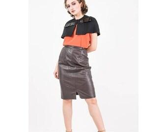 FLASH SALE... Vintage capelet / 1960s Black cotton linen short cape with vinyl bow / Tailored shrug / S M