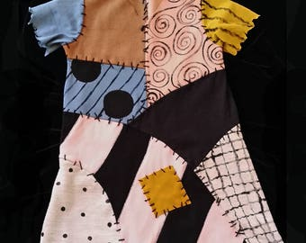 Sally Nightmare Before Christmas Halloween Town Colors Patchwork Dress Ship Now Size 3T by TheRubyBee