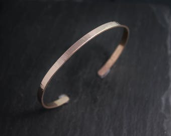 Recycled 14k rose gold hand forged cuff bracelet Handmade bracelet hammered gold Rose gold bracelet wedding gift