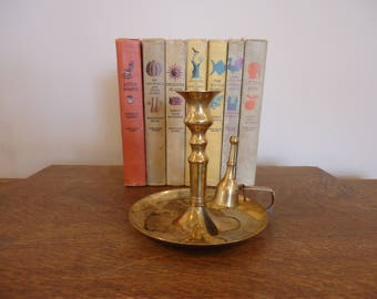 Vintage Brass Candlestick , Brass Candle Holder with wick snuffer