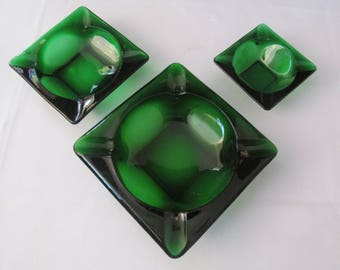 "Set of 3 Anchor Hocking Forest Green Ashtrays - 3 1/4"" - 4 1/2"" - 6"""