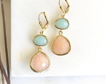 Peach and Blue Jade Bridesmaids Earrings. Dangle Earrings. Drop Earrings. Bridesmaid Earrings. Bridal. Drop Earrings. Wedding.