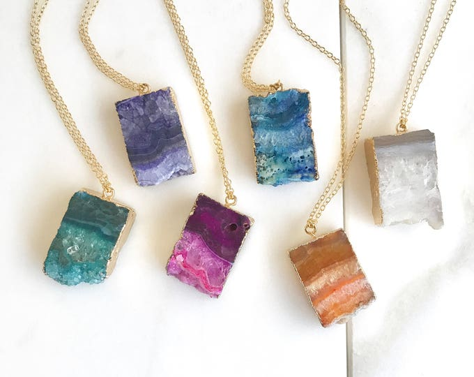 Druzy Quartz Necklace. Geode Necklace. Druzy Jewelry. Stone Necklace. Teal Aqua Gold Necklace.  Chunky Necklace. Gift. Choose Stone Color.