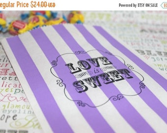 GLAMSALE Personalized Candy Bags, Purple Stripe Party Bags, LOVE IS Sweet Favor Bags, Wedding Candy Bags, Popcorn Bags, Purple Candy Bags -