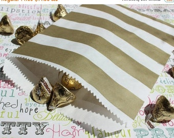 GLAMSALE 100 Gold Metallic Rugby Stripe Candy Bags, Wedding Candy Bags, Popcorn Bags, Party Favor Bags