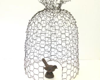 Wire Bee Skep Cloche - Rustic Chicken Wire Garden Art