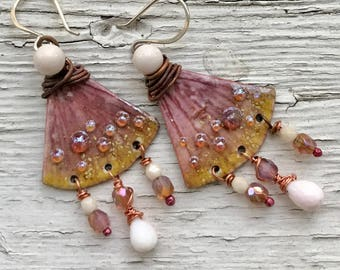 Pink opal, artisan enameled copper earrings