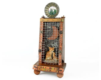 "assemblage art, mixed media, shadow box, fox, reclaimed wood, 19"" tall, rulers, wood, moon, one of a kind, folk art, found object, original"