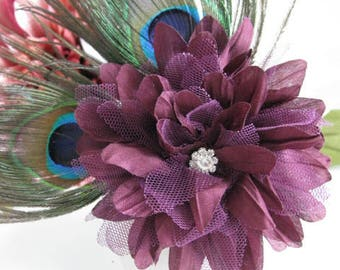 Maroon Flower and Peacock feather accent Corsage Wedding accessory Bridal party gift prom corsage