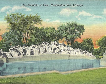 Vintage 1930's Chicago Illinois Postcard Fountain of Time