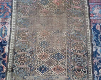 """Antique Persian Bellouch Oriental Rug Size 2'11"""" by 4' 11""""  Worn and Weathered Great for Rustic or Modernism Decor"""