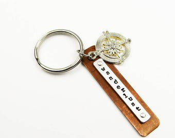 Wanderlust Keychain - Travel Key Chain with Compass Charm for World Traveler