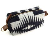 READY TO SHIP: Medium Toiletry Bag - Black & White Tribal Blanket with Leather