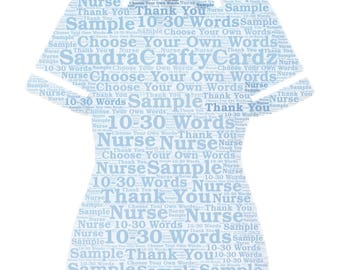 Nurse Uniform Thank You Personalised Gift Word Art Print Thank you, Sorry your leaving Gift