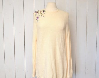 34% Off Sale - Slouchy Knit Sweater Vintage Early 90s Cream Floral Embroidery Loose Fit Tunic Sweater Medium