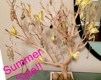 "24"" Natural Jewelry Tree Organizer with gold Sparkle and Gold Butterflies"
