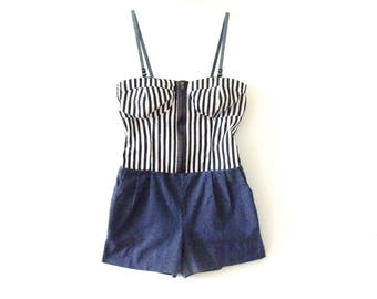 WHO WEARS SHORT Shorts?  Striped Denim Sleeveless Romper Shorts Suit ~ Size: M