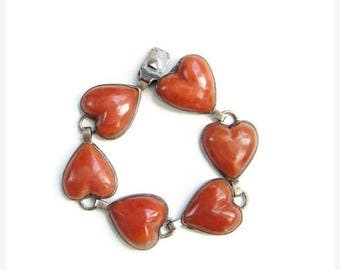 ON SALE Old Taxco Mexico Sterling Silver Heart Shape Link Bracelet Signed Mexican Jewelry Red Gemstone