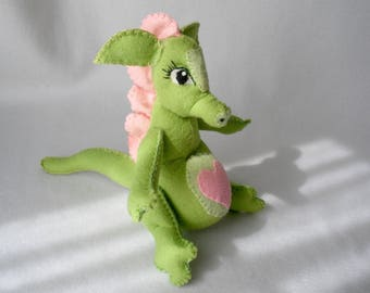 Plush Wool Felt Sitting Dragon Mom-To-Be, Green Dragon, Pregnant Dragon, Shower Gift, Nursery Toy