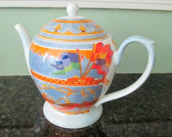 Williams Sonoma Montgolfiere Fine Porcelain Teapot Made in Japan