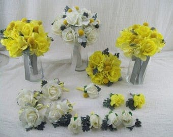 Real Touch Rose Bridal Bouquet Flower Package - Grey Bridal Bouquet - Yellow Bridal Bouquets - Real Touch Corsages - Real Touch Boutonnieres