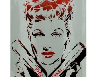 Lucille Ball Portrait 24x30 LUCILLE BALL BUSTER  I Love Lucy Inspired Original Painting Graffiti Street Art Thug Gangster Urban Art Pop Art