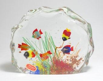 Mid Century Signed Large Murano Art Glass Block Aquarium Sculpture Paperweight, Murano Art Glass Aquarium, Murano Tropical Fish Aquarium