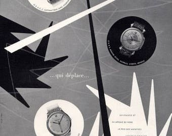 Vintage French Ad - Jaeger LeCoultre Montres 1954 Watches