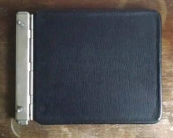 Vintage Black Leather Bound and Adjustable Metal Binder