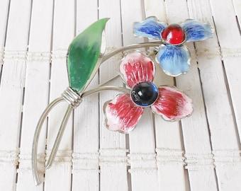 Red & Blue Flower Pin, Vintage Brooch, Enamel flowers, Mauve, Sky Blue, Large flower pin, Summer Style, 1950's Jewellery, Bouquet brooch