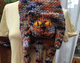 Sausage Cat hand knitted scarf