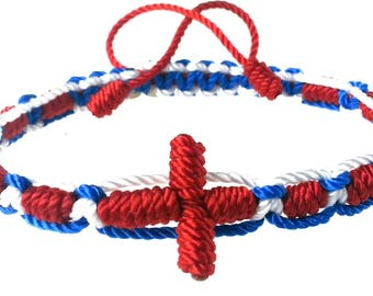 Knotted-Macrame Rosary Bracelet•Red-White-Blue 100% Nylon Cord Rosary Bracelet•Confirmation Gift•First Communion Gift•KN007•Our Lady Beads